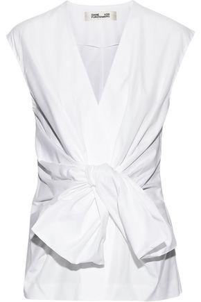 DIANE VON FURSTENBERG Tie-front cotton-poplin top