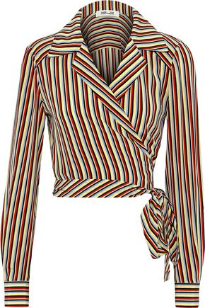 DIANE VON FURSTENBERG Striped silk crepe de chine wrap shirt
