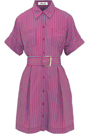 DIANE VON FURSTENBERG Belted striped poplin mini shirt dress