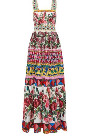 DOLCE & GABBANA Guipure lace, embellished chiffon and printed cotton and silk-blend gown