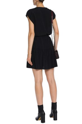RAG & BONE Gathered silk crepe de chine mini dress