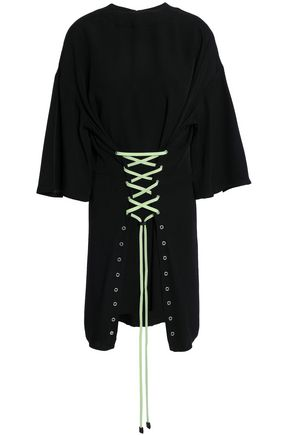 VERSUS VERSACE Lace-up crepe-satin mini dress