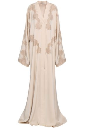 DOLCE & GABBANA Lace-trimmed silk-blend crepe de chine gown