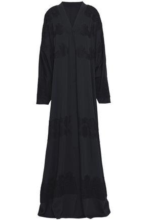 DOLCE & GABBANA Lace-trimmed silk-blend crepe de chine gown
