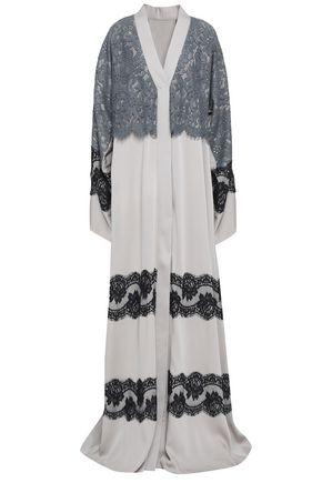DOLCE & GABBANA Layered lace-paneled silk-blend kimono