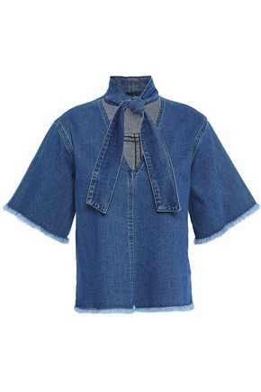 SEE BY CHLOÉ Tie-neck frayed denim top