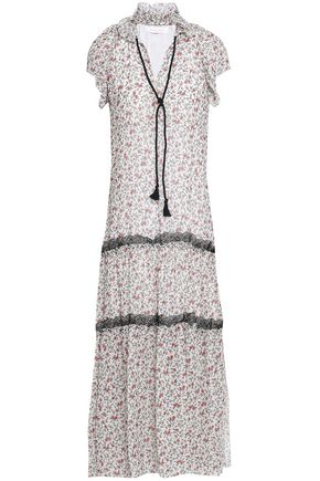 SEE BY CHLOE | See By Chloé Woman Floral-print Ruffle And Lace-trimmed Stretch-cotton Midi Dress Ecru | Goxip