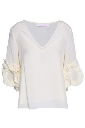 SEE BY CHLOE | See By Chloé Woman Ruffled Silk Crepe De Chine Blouse Ivory | Goxip