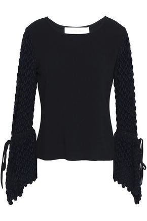 SEE BY CHLOÉ Crochet-paneled crepe top