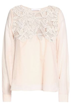 SEE BY CHLOÉ Lace-paneled cotton top