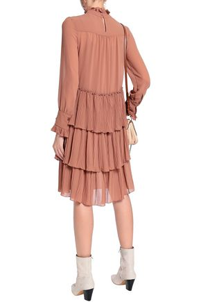 SEE BY CHLOÉ Tiered plissé-paneled georgette dress