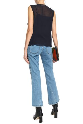 SEE BY CHLOÉ Ruffled crinkled cotton and silk-blend gauze blouse