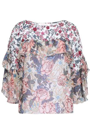 SEE BY CHLOÉ Ruffled floral-print crepe de chine top
