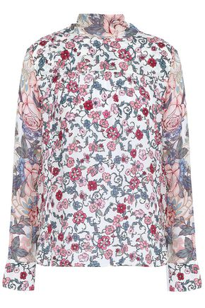 SEE BY CHLOÉ Pussy-bow floral-print crepe de chine blouse