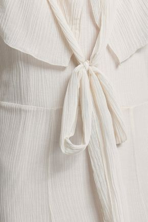 SEE BY CHLOÉ Ruffled crinkled cotton and silk-blend gauze midi dress