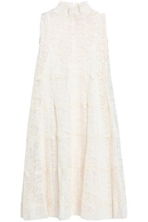 SEE BY CHLOÉ Plissé-lace turtleneck dress