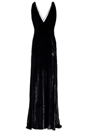 MICHAEL LO SORDO Open-back velvet and lamé gown