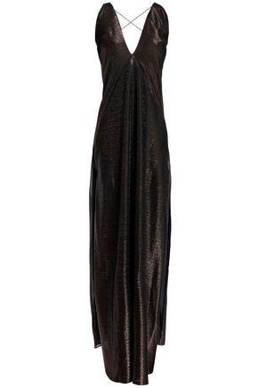 MICHAEL LO SORDO Open-back metallic woven gown