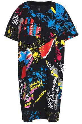 VERSUS VERSACE Flocked printed cotton-jersey mini dress
