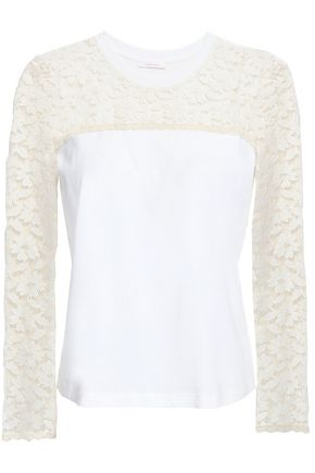 SEE BY CHLOÉ Lace-paneled cotton-jersey top