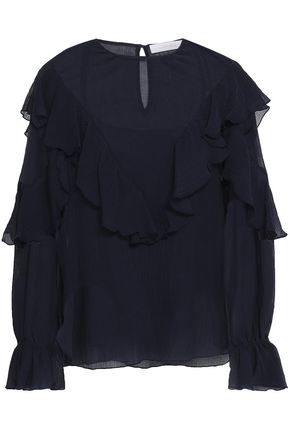 SEE BY CHLOÉ Ruffle-trimmed cotton and silk-blend crepe blouse