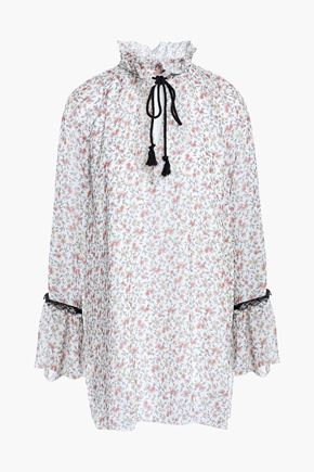 SEE BY CHLOE | See By Chloé Woman Lace-trimmed Floral-print Georgette Blouse Off-white | Goxip