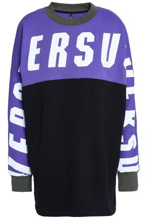 VERSUS VERSACE Color-block printed French cotton-terry sweatshirt