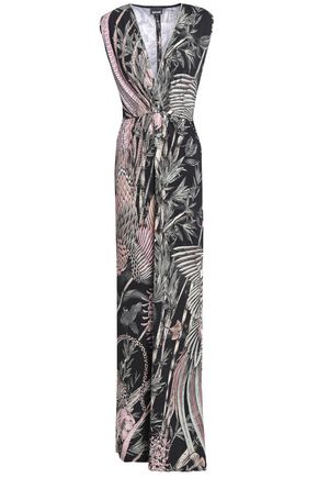 JUST CAVALLI Wrap-effect printed ponte gown
