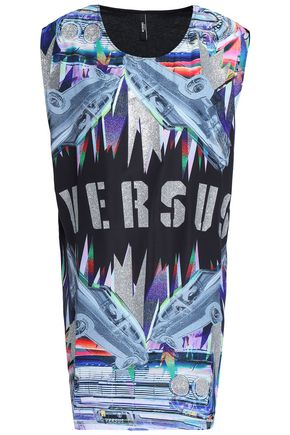 VERSUS VERSACE Glittered printed cotton-jersey mini dress