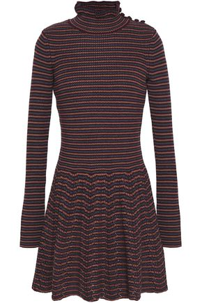 SEE BY CHLOE | See By Chloé Woman Fluted Button-detailed Ribbed Wool Mini Dress Burgundy | Goxip