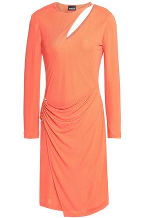 JUST CAVALLI Wrap-effect cutout stretch-jersey mini dress