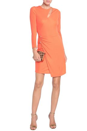 34cc930219d15 JUST CAVALLI Wrap-effect cutout stretch-jersey mini dress