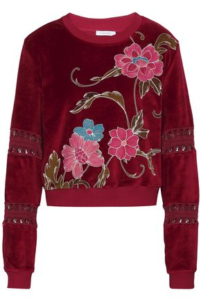 SEE BY CHLOÉ Embroidered cotton-blend velvet sweatshirt