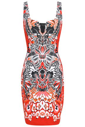 JUST CAVALLI Paneled printed stretch-ponte mini dress
