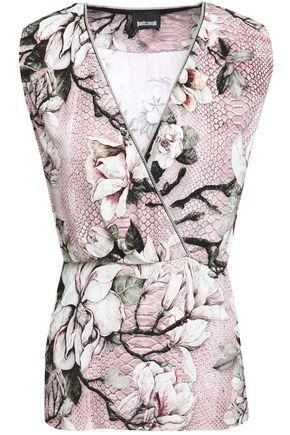 JUST CAVALLI Wrap-effect floral-print ponte top