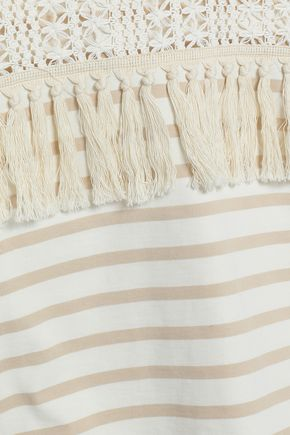 SEE BY CHLOÉ Tasseled crochet-paneled striped cotton-jersey top