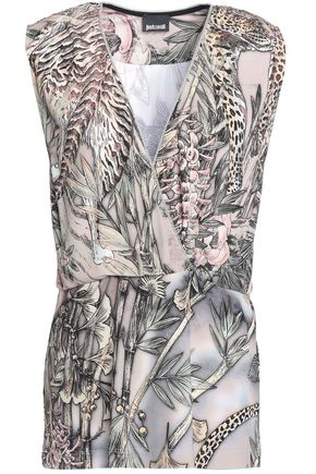 JUST CAVALLI Chain-trimmed printed ponte top