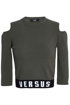 VERSUS VERSACE Cold-shoulder intarsia-trimmed stretch-knit top