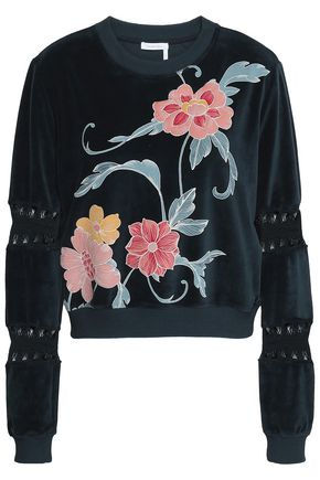 SEE BY CHLOÉ Crochet-trimmed embroidered cotton-blend velvet sweatshirt