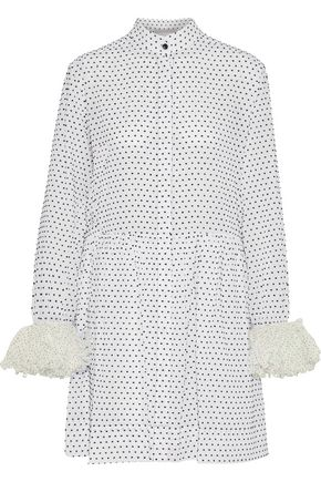 CHRISTOPHER KANE Polka-dot voile-trimmed flocked cotton-poplin mini shirt dress