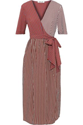 DIANE VON FURSTENBERG Paneled striped poplin midi wrap dress