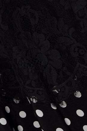 DOLCE & GABBANA Lace-paneled polka-dot silk-blend gown