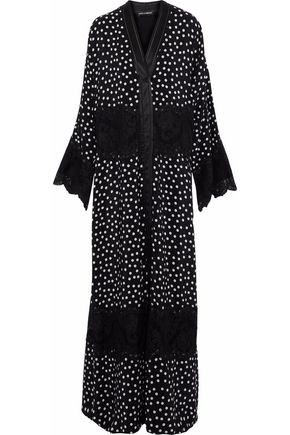 DOLCE & GABBANA Lace-paneled polka-dot silk-blend gown