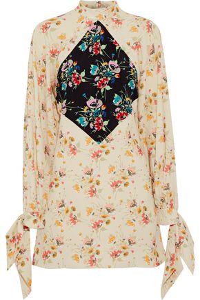 CHRISTOPHER KANE Paneled floral-print crepe mini dress
