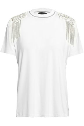 57acd373f2c37e JUST CAVALLI Embellished stretch-jersey T-shirt