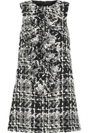 DOLCE & GABBANA Ruffled wool-blend bouclé-tweed mini dress