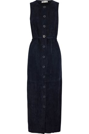 YVES SALOMON Belted suede midi dress
