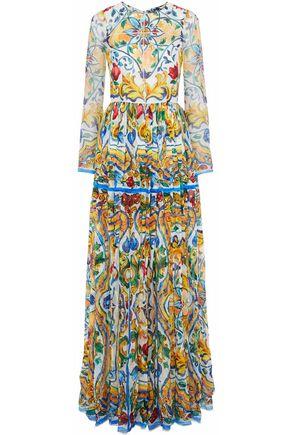 DOLCE & GABBANA Ruffled floral-print silk-chiffon gown