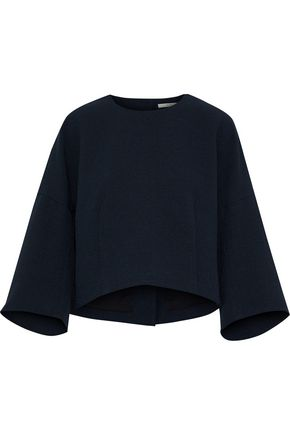 TIBI Mica cropped button-detailed crepe top