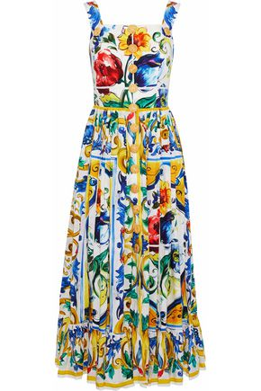 DOLCE & GABBANA Button-embellished floral-print cotton-poplin midi dress